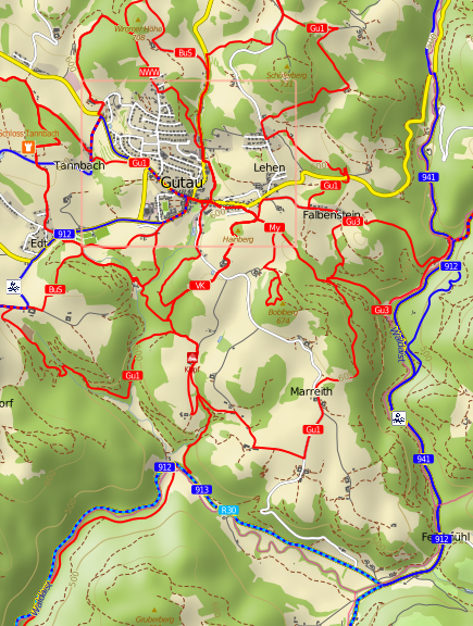 new gutau hiking and biking map cutout