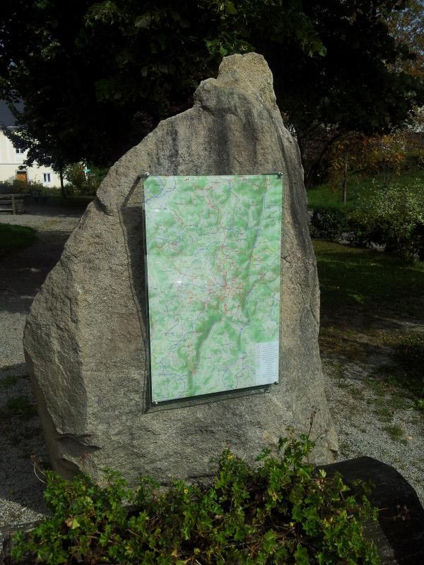 Photo of wayside panel with hiking and biking map of Gutau