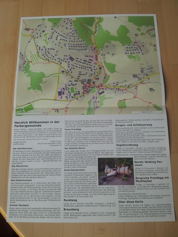 Hiking and biking map of Gutau, back side