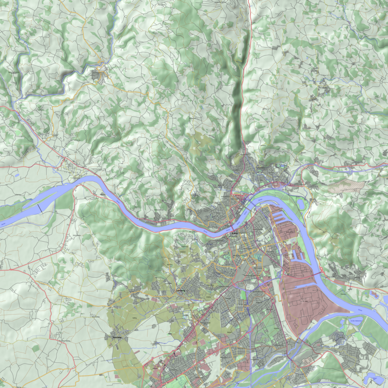 Map of Linz and surroundings, using sophisticated text buffering